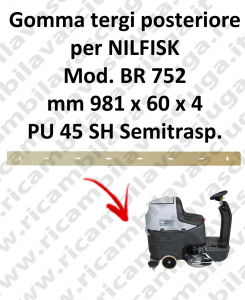 Squeegee rubber back for scrubber dryer NILFISK model BR 752