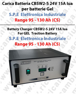 Carica Battery CBSW2-S 24V 15A Iua for batterie Gel  Range 95 - 130 Ah (C5) - S.P.E  Elettronica Industriale