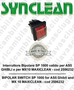 Interruttore Bipolare SP1000 Valid for AS5 GHIBLI e MX 5 MAXICLEAN cod: 2506232