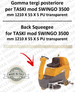 Squeegee rubber back for scrubber dryer TASKI model SWINGO 3500