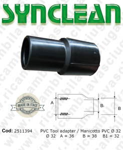 Cuff for Vacuum hose PVC ?ÿ 32 Valid for vacuum cleaner Ghibli AS5, AS6, Maxiclean mx5, mx6, cod: 2511394
