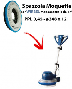 MOQUETTE BRUSH for scrubber dryer COMAC ABILA 45. Model: PPL 0,45 C/FLANGIA ⌀348 X 121