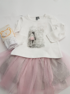 Completo gonna in tulle rosa