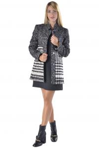 Cappottino donna Nenette in lana con microfantasia nero 308aaf7cd55
