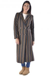 Cappotto lungo donna Anonyme doppio petto con righe marrone 2a66ab3476b5