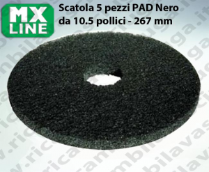 PAD MAXICLEAN 5 piezas color negro da 10.5 pulgada - 267 mm | MX LINE