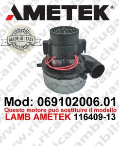 Motore de aspiración 069102006.01 AMETEK ITALIA para fregadora ,puede reemplazar el motor LAMB AMETEK 116409-13
