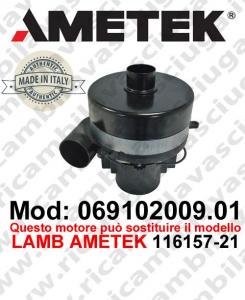 Motore de aspiración 069102009.01 AMETEK ITALIA para fregadora ,puede reemplazar el motor LAMB AMETEK 116157-21