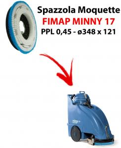 Cepillo MOQUETTE  para fregadora FIMAP MINNY 17. modelo: PPL 0,45 C/FLANGIA ø348 X 121