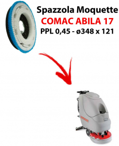Cepillo MOQUETTE  para fregadora COMAC ABILA 17. modelo: PPL 0,45 C/FLANGIA ø348 X 121
