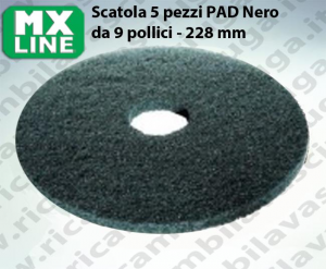 PAD MAXICLEAN 5 piezas color negro da 9 pulgada - 228 mm | MX LINE