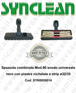 Cepillo combinata Mod.90 snodo universale Negro con piastra nichelata y strip ø32/35  - SYNCLEAN - Mod: SYN5050014