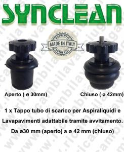 Tappo tubo di scarico para aspiradora húmeda y fregadoras adattabile tramite avvitamento. Da ø30 mm (aparato) a ø 42 mm (chiuso)