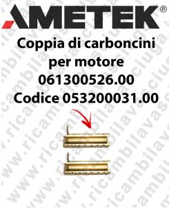 COPPIA di Carboncini Motore de aspiracion para motore  Ametek 061300526.00 Cod: 053200031.00