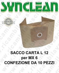 SACCO CARTA litri 12 per MAXICLEAN mod. MX 6 confezione da 10 pezzi