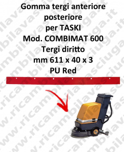 goma de secado delantera e trasero para fregadora TASKI Model COMBIMAT 600 tergi diritto