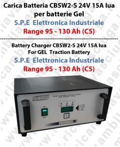 Carica Batteria CBSW2-S 24V 15A Iua para batterie Gel  Range 95 - 130 Ah (C5) - S.P.E  Elettronica Industriale