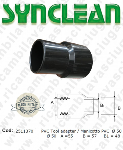 Manicotto para Tubo de succión PVC Ø 50 válido para aspiradora Ghibli AS600, Maxiclean mx600, cod: 2511370