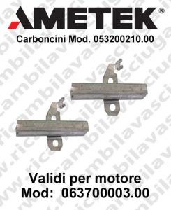 COPPIA di Carboncini motor de aspiración para motori Ametek  063700003.00 Cod: 053200210.00