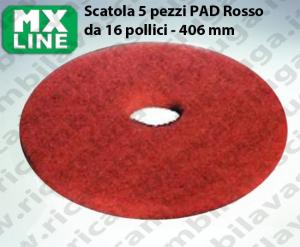 Rot Maschinenpads MAXICLEAN 5 Stücke für Scheuersaugmaschinen und Einscheibenmaschinen 16.0 zoll 406 mm