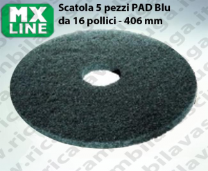 Blau Maschinenpads MAXICLEAN 5 Stücke für Scheuersaugmaschinen und Einscheibenmaschinen 16.0 zoll 406 mm