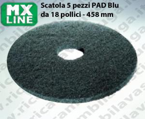 Blau Maschinenpads MAXICLEAN 5 Stücke für Scheuersaugmaschinen und Einscheibenmaschinen 18.0 zoll 458 mm