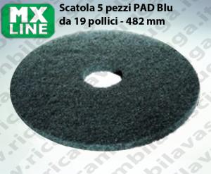 Blau Maschinenpads MAXICLEAN 5 Stücke für Scheuersaugmaschinen und Einscheibenmaschinen 19.0 zoll 482 mm