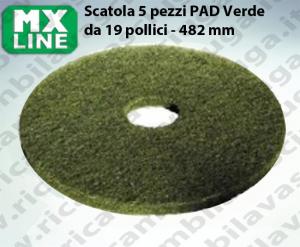 Grün Maschinenpads MAXICLEAN 5 Stücke für Scheuersaugmaschinen und Einscheibenmaschinen 19.0 zoll 482 mm