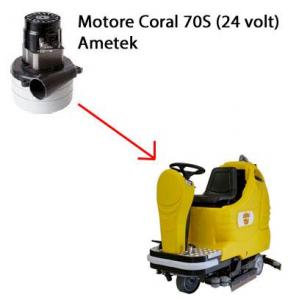 Coral 70 S - 24 volt MOTEUR ASPIRATION AMETEK pour autolaveuses Adiatek