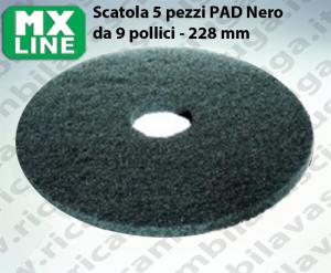 Schwarz Maschinenpads MAXICLEAN 5 Stücke für Scheuersaugmaschinen und Einscheibenmaschinen 9.0 zoll 228 mm