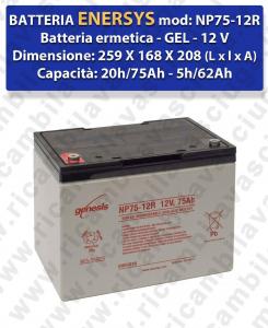 NP75-12R Hermetische Batterie - Gel 12V 75Ah 20/h ENERSYS
