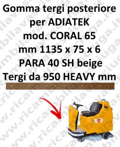 CORAL 65 BAVETTE ARRIERE pour autolaveuses ADIATEK (suceur long 950 mm)