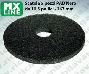 PAD MAXICLEAN 5 PIECES couleur NOIR de 10.5 pouce - 267 mm | MX LINE