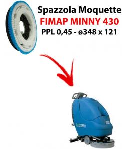 BROSSE MOQUETTE  pour autolaveuses FIMAP MINNY 430. Reference: PPL 0,45 C/FLANGIA diamétre 348 X 121.