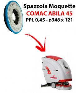 BROSSE MOQUETTE  pour autolaveuses COMAC ABILA 45. Reference: PPL 0,45 C/FLANGIA diamétre 348 X 121
