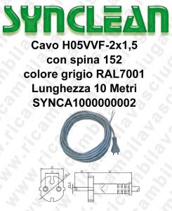 SYNCA1000000002 Kabel H05VVF 2 x 1,5 mit Stecker 152 grau Lange 10 Meter für Staubsauger