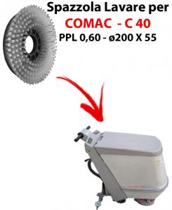 BROSSE A LAVER pour autolaveuses COMAC C 40 . Reference: PPL 0,6 - diamétre 200 X 55 mm -  SPECIAL BRUSH L17