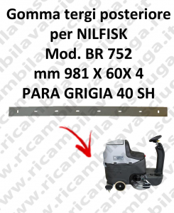 Bavette ARRIERE pour autolaveuses NILFISK modelle BR 752