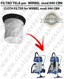 Filtre de toile pour aspirateurs WIRBEL modelle 990 CBN