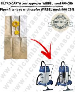 Sac en papier litres 19 avec bouchon pour WIRBEL 990 CBN conf. 10 piéces