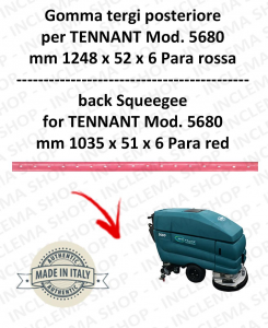 5680 Bavette ARRIERE PARA Rouge pour autolaveuses TENNANT - suceur 900 mm