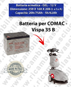 BATTERIE GEL pour Vispa 35 autolaveuses Comac