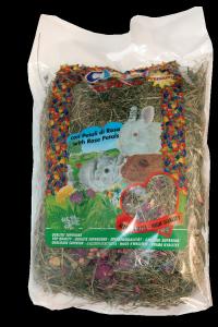 Fieno Alpino per Conigli con Petali di Rosa 1° qualità Chemi Vit  gr.500