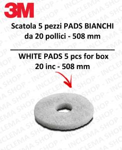 PAD 3M 5 PEZZI Bianco 20 pollici  508 mm  per lavapavimenti e monospazzole