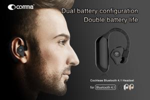 """Auricolare Bluetooth 4.1 """"Cochleae""""  con doppia batteria - Nero"""