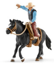 SCHLEICH FARM LIFE CAVALLO DA RODEO CON COWBOY 41416