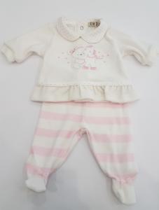 Completo in ciniglia rosa con orsetto da neonata