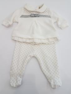 Completo in ciniglia bianco e argento da neonata