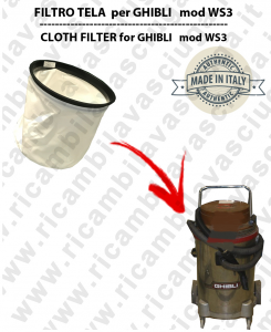 Canvas filter for vacuum cleaner GHIBLI model WS3