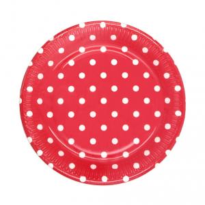 Piatti in cartoncino Rosso a pois cm. 19,5